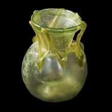 APHRODITE- ANCIENT LATE ROMAN/EARLY BYZANTINE GLASS JAR WITH TRAIL DECORATION