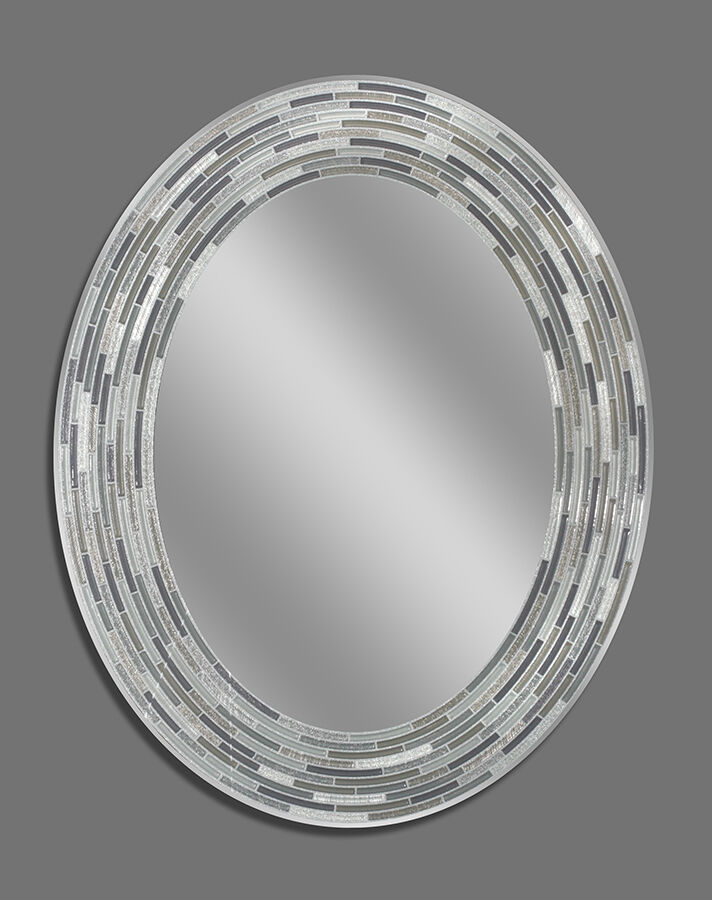 Reeded charcoal oval decorative frameless wall mirror for Fancy oval mirror