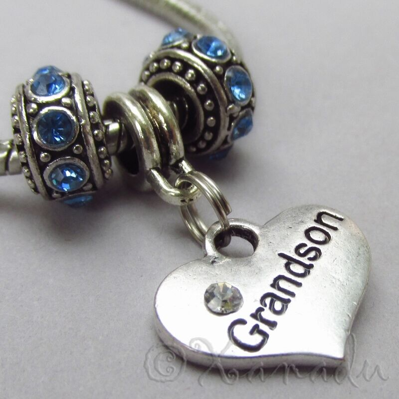 European Charm Bracelets: Grandson European Charm Pendant And Birthstone Beads For