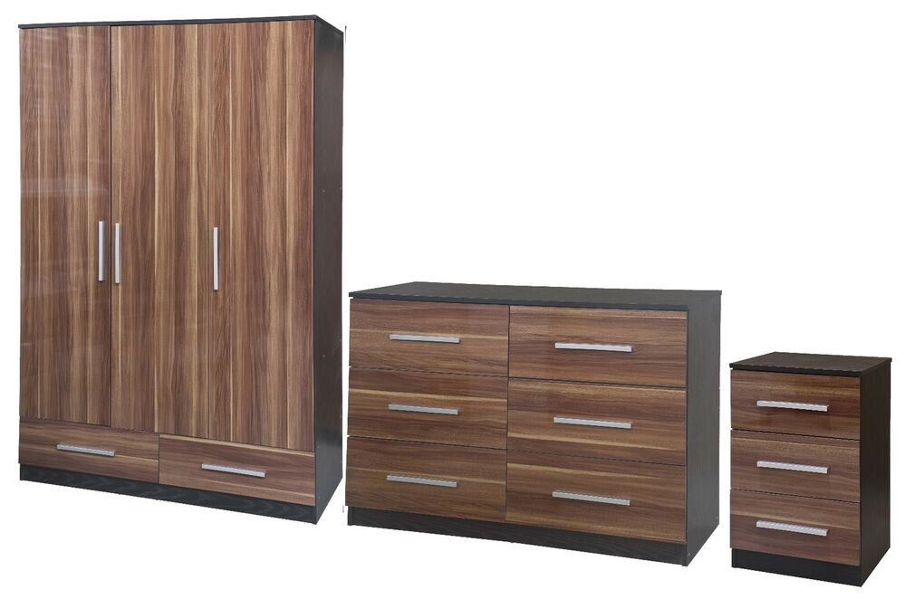 New lotus super high quality walnut gloss black large modular bedroom furniture ebay Mobile home bedroom furniture