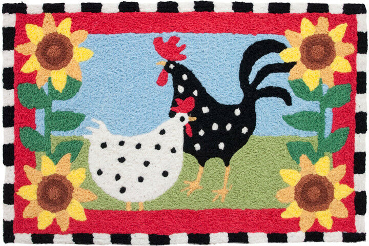 Funky Chickens Accent Rug Rooster Doormat Washable Kitchen