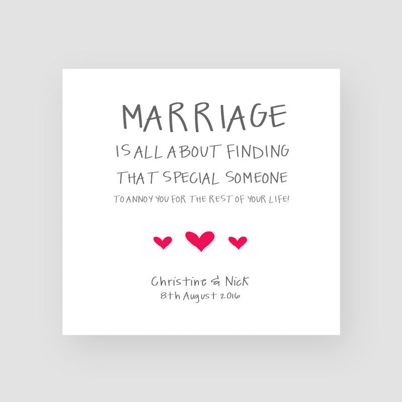Funny Wedding Anniversary: Personalised Handmade Funny Wedding Day Card