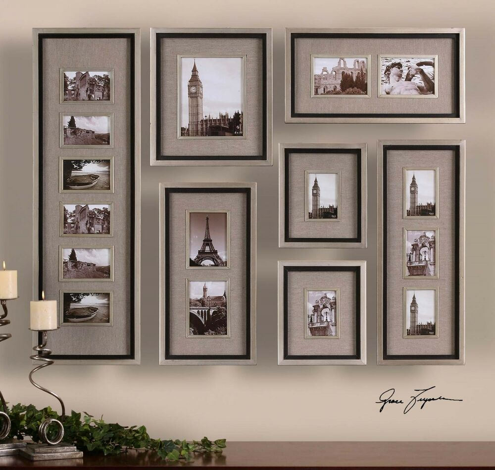 Wall Art Silver Frames : Large set of quality picture photo wall frames collage art