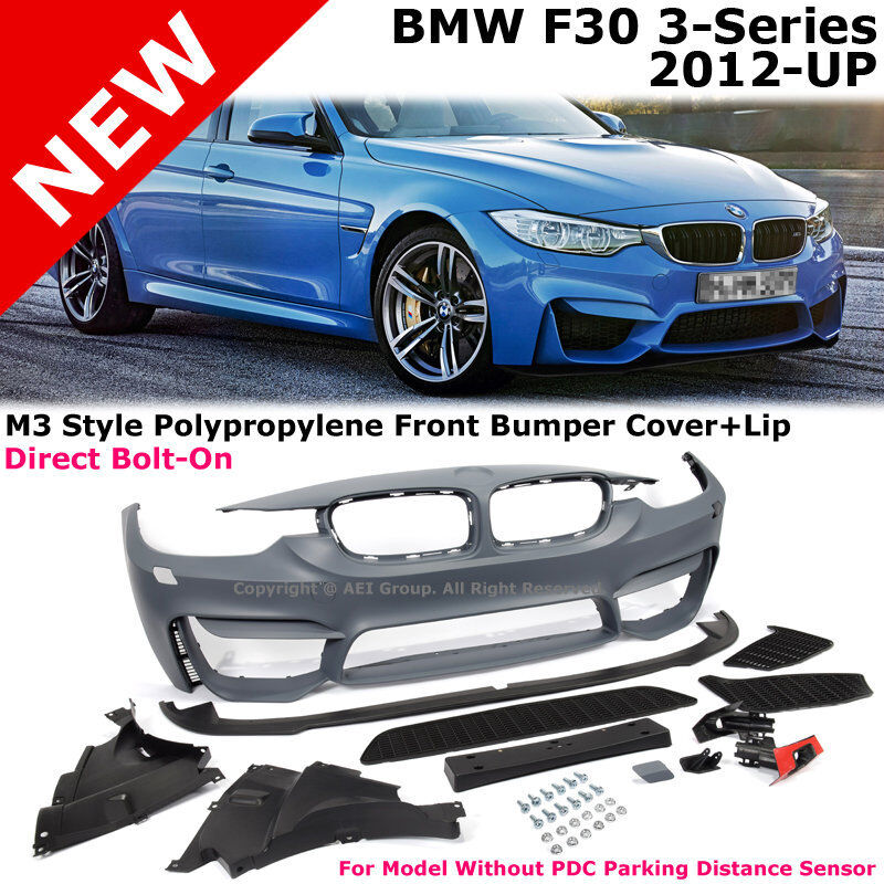 bmw 3 series f30 12 17 m3 style w o pdc front bumper cover with aero lip spoiler ebay. Black Bedroom Furniture Sets. Home Design Ideas
