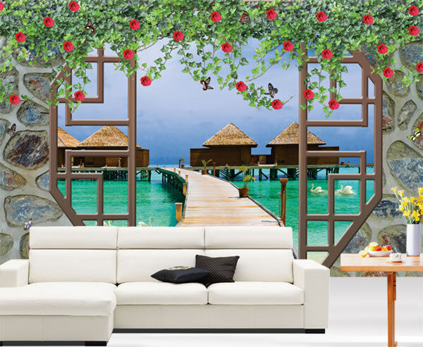 Brick wall outside beach view 3d full wall mural photo for Home wallpaper ebay