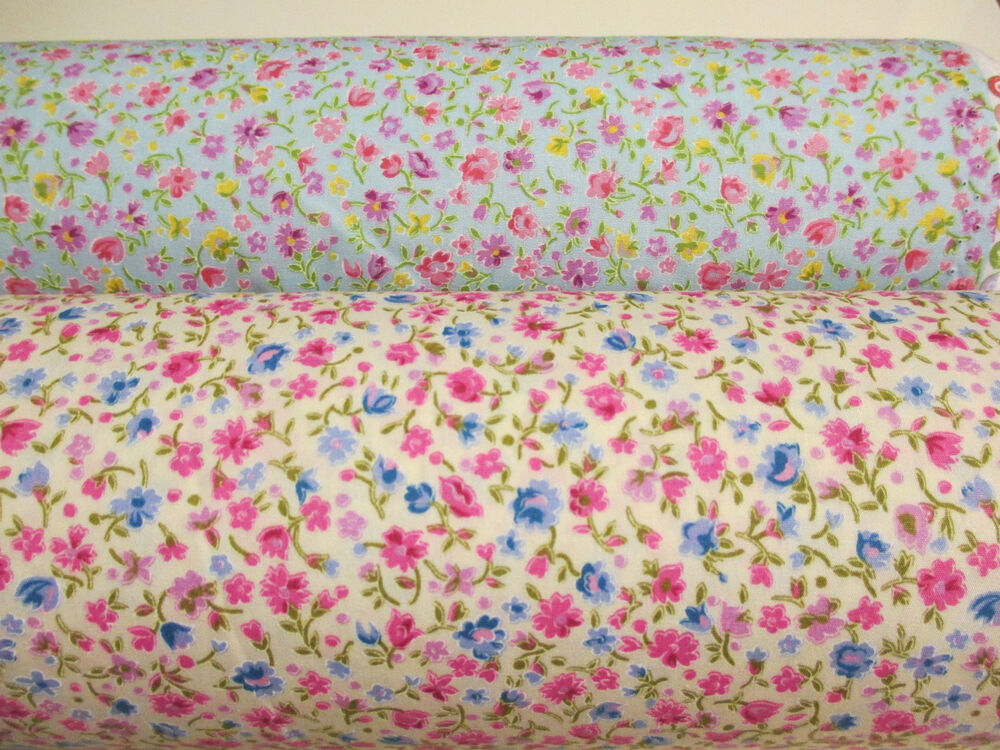 Cute small ditsy flowers floral 100 cotton poplin printed for Printed cotton fabric