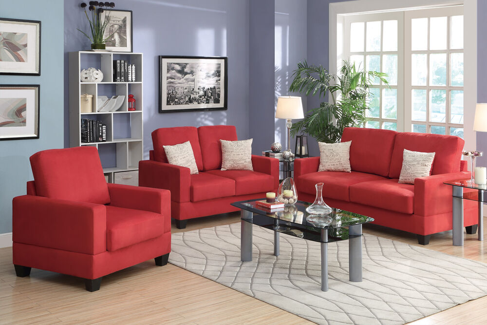 Modern style 3 pc sofa set sofa loveseat chair for Living room sets under 1 000