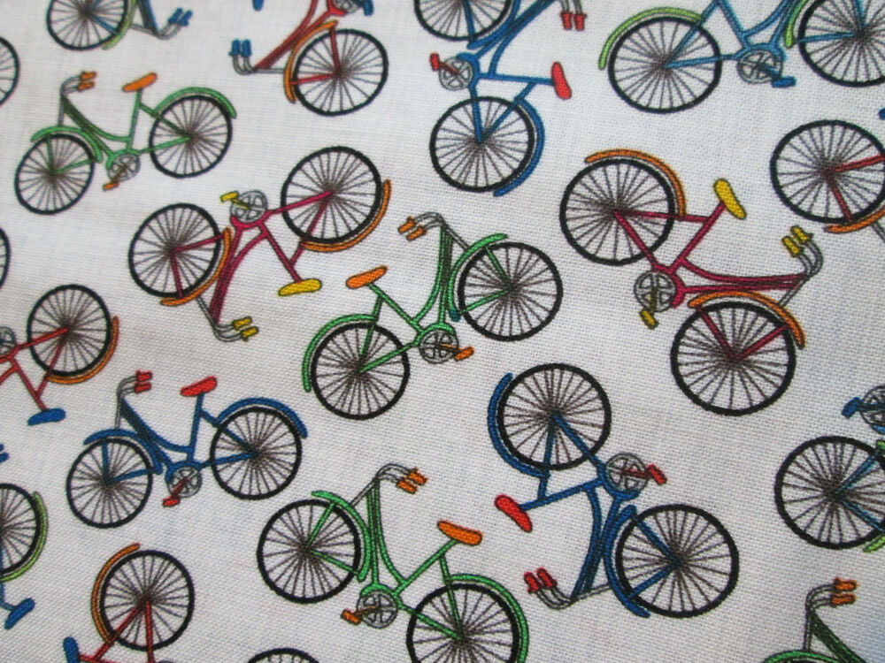 RETRO MINI BIKE BICYCLE WHITE COLORS COTTON FABRIC FQ | eBay