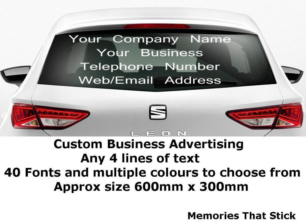 Personalised Business Name Sticker Car Van Rear Window