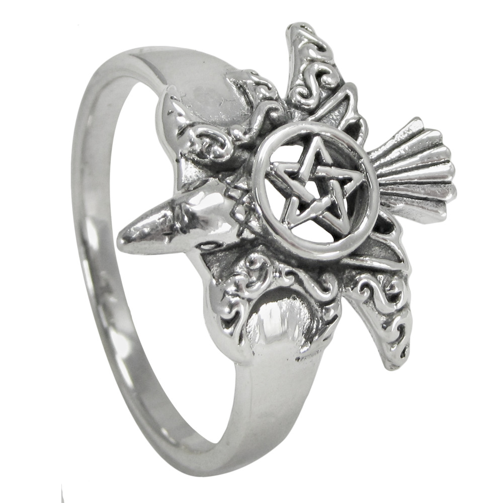 sterling silver pentacle ring wiccan