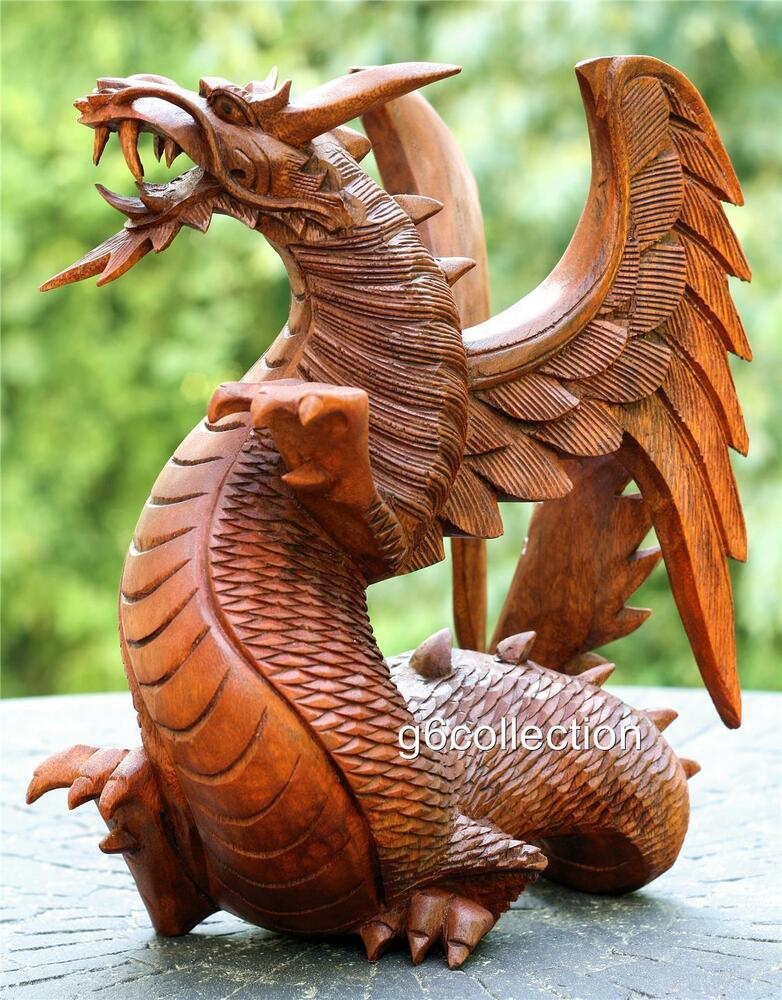 Quot large heavy hand carved wooden dragon statue sculpture