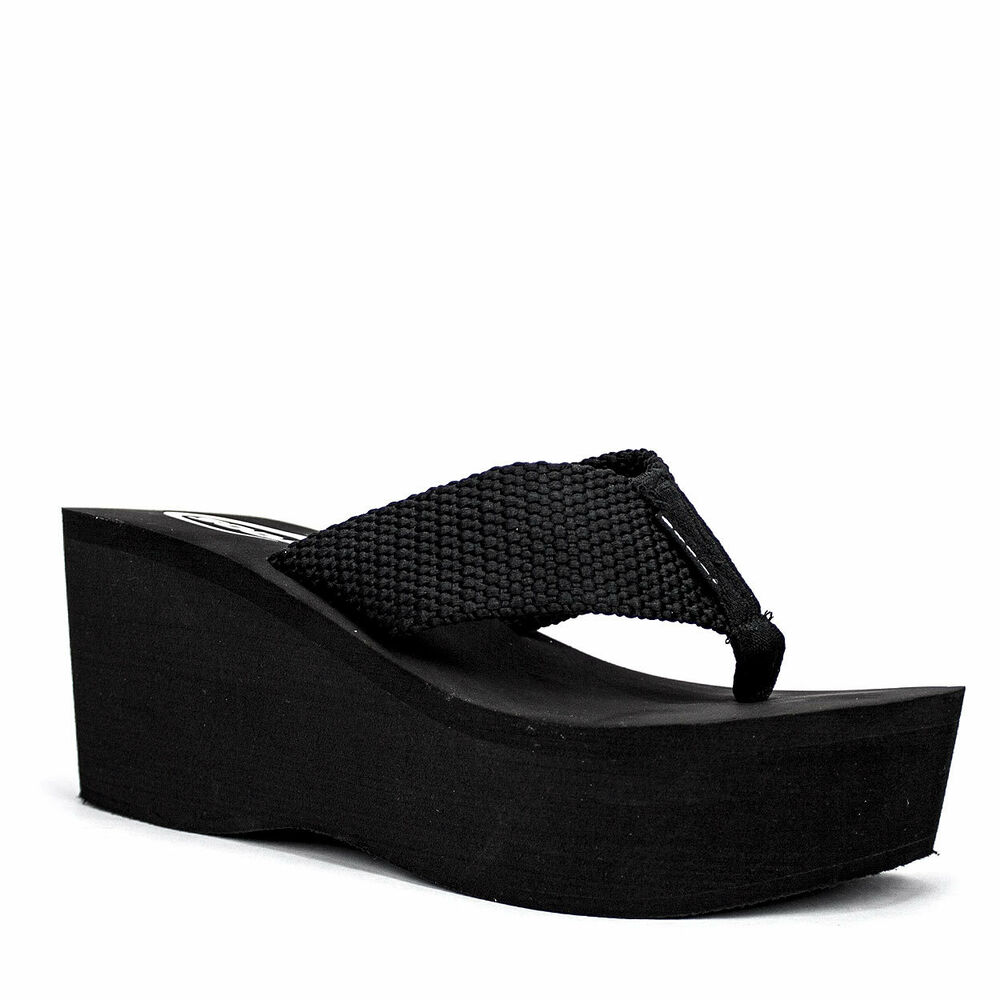 soda oxley s womens black platform wedge foam