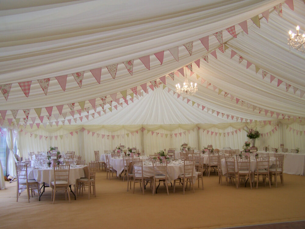 10m Of Vintage Style Wedding Marquee Bunting Pink Shabby Chic