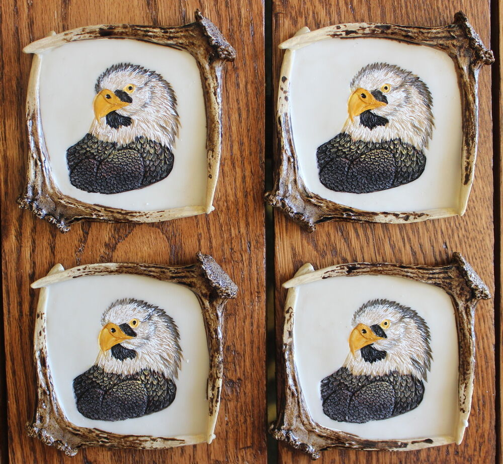 Resin eagle coaster set of 4 antler country barware home for Antler decorations for home