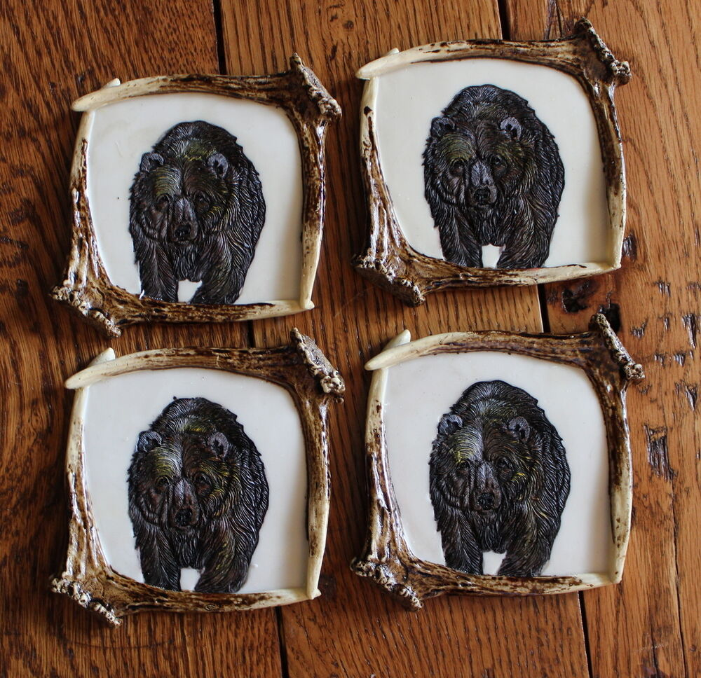 Resin grizzly bear antler country coaster set 4 bareware for Rustic bear home decor