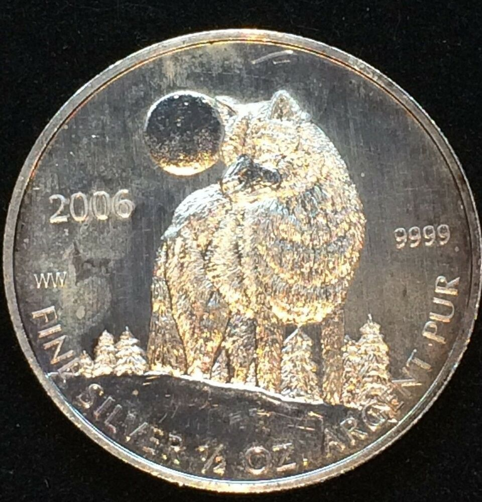 Canada 2006 Timber Wolf 1 Dollar Coin 9999 Fine Silver 1