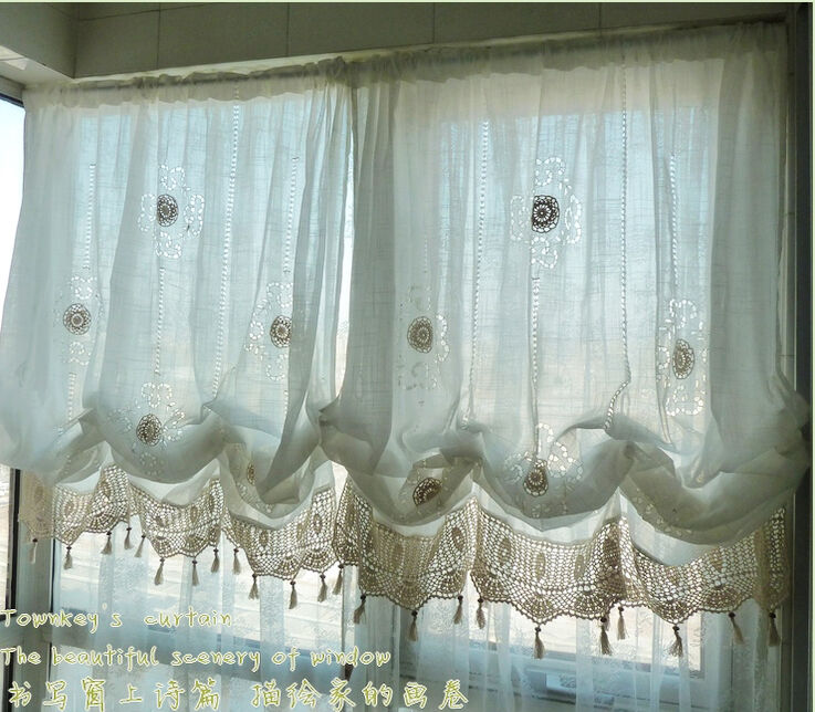 Adjustable Balloon Shade Crochet Hook Sheer Curtain