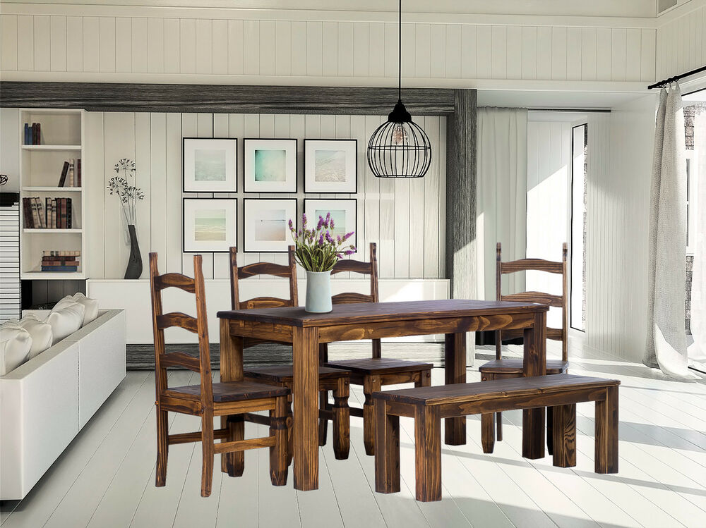 essgruppe esstisch pinie holz tisch massiv 140x90 4 x mexico stuhl bank 140 ebay. Black Bedroom Furniture Sets. Home Design Ideas