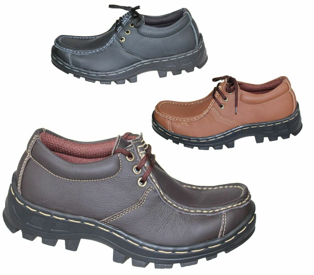 mens boys mild leather comfort boots casual flat laceup