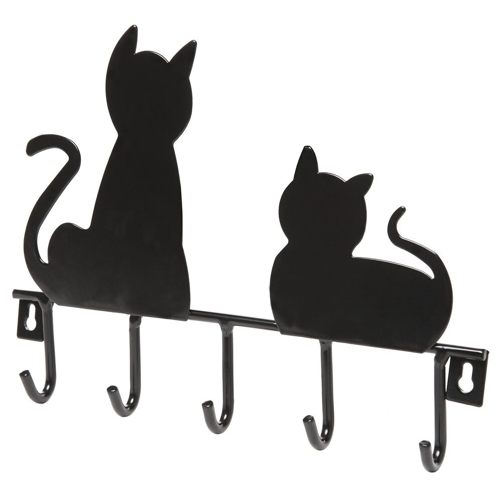 Black Cat Decorative 5 Key Wall Mounted Metal Hanger Rack