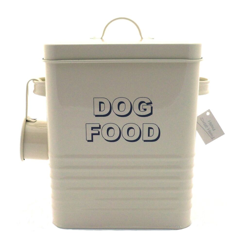 Dog Food Storage Container Tin Box Amp Scoop Cream Metal