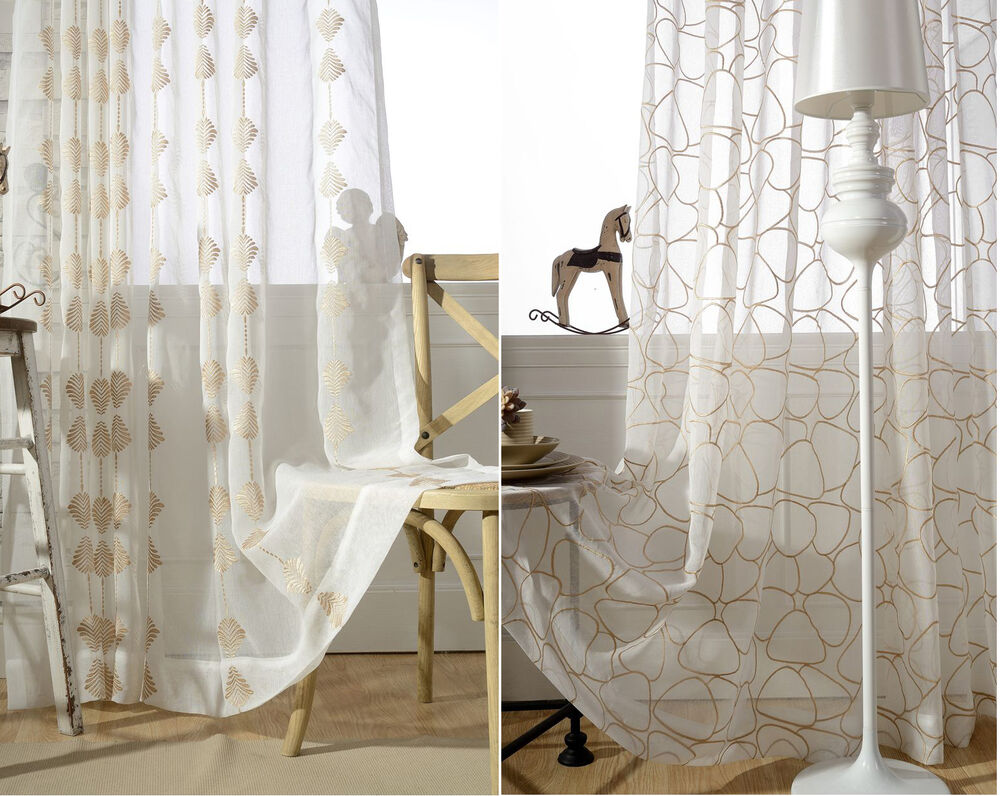 2 panels cotton embroidered sheer curtain customizable