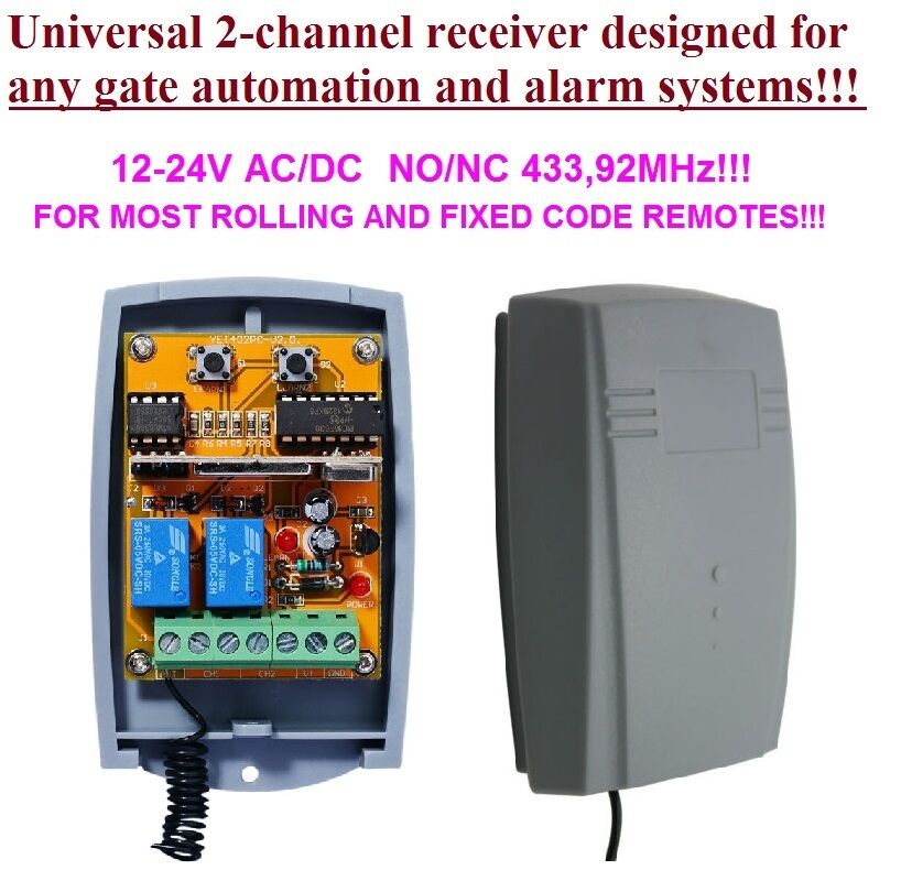 Universal 433 92mhz 2 Channel Receiver Rolling Amp Fixed