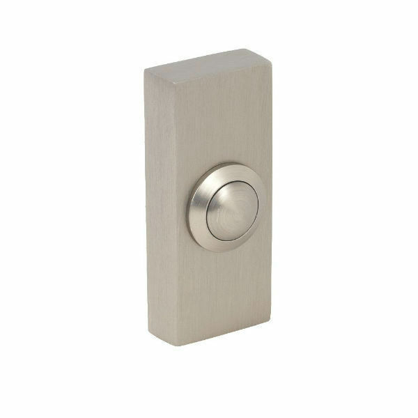 Byron 2204bn surface door bell push brushed nickel ebay for Door bell push