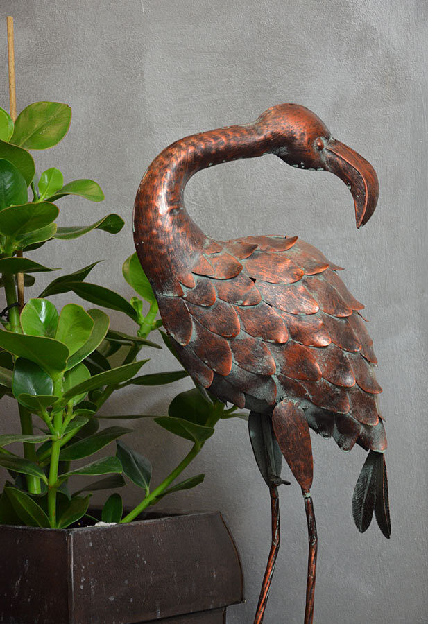 gartenfigur garten deko flamingo metall vogel veranda 80cm. Black Bedroom Furniture Sets. Home Design Ideas
