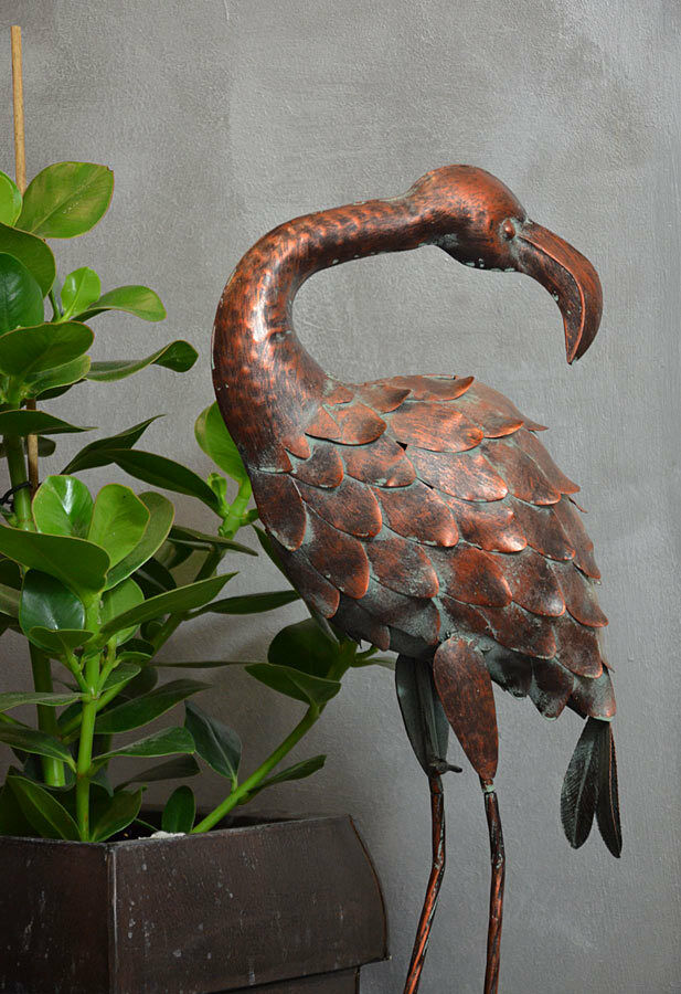 gartenfigur garten deko flamingo metall vogel veranda 80cm bronze landhaus ebay. Black Bedroom Furniture Sets. Home Design Ideas