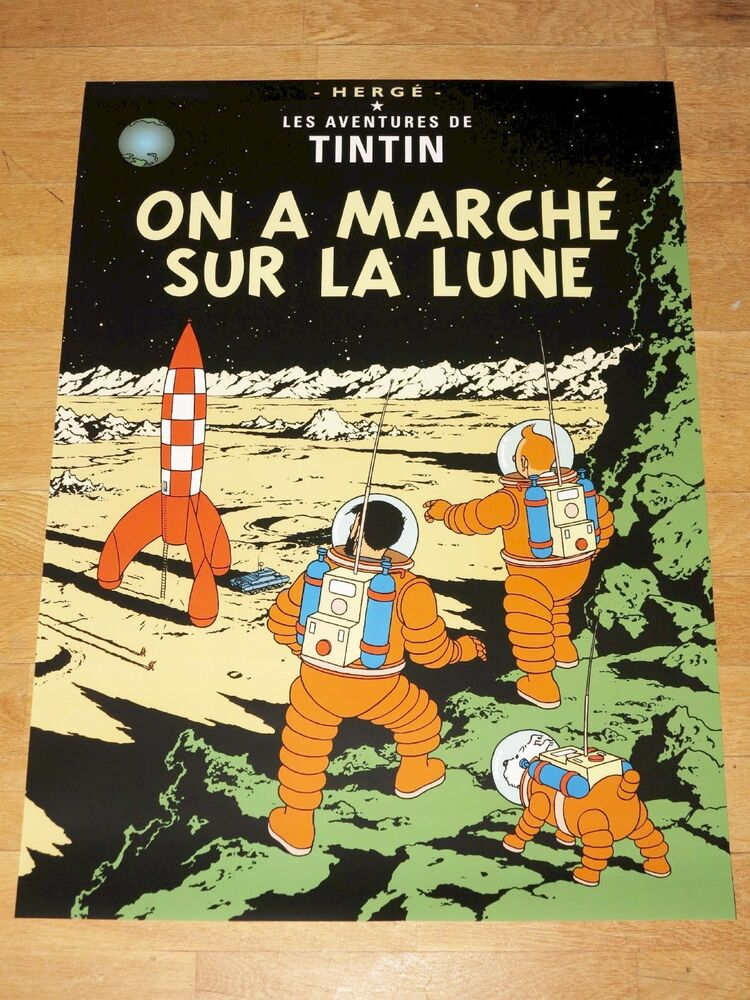tintin poster on a march sur la lune on the moon new in mint ebay. Black Bedroom Furniture Sets. Home Design Ideas