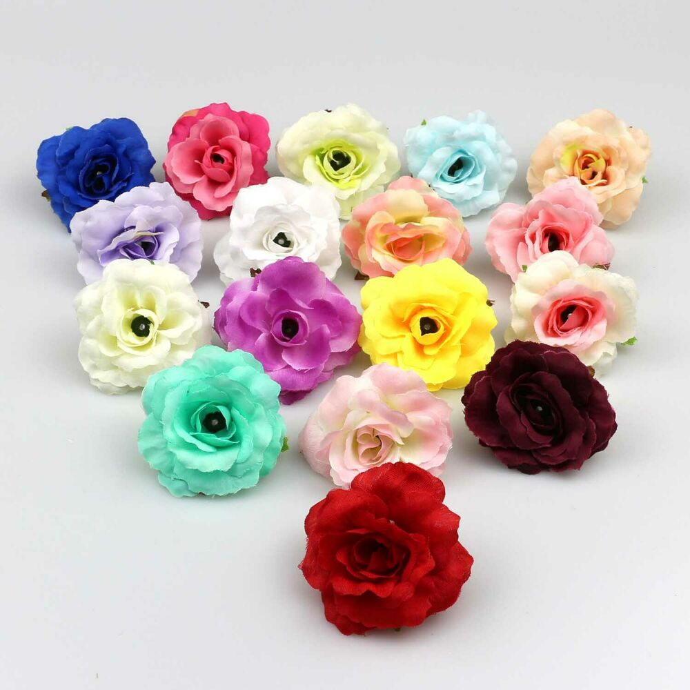 New 100pcs lot mixed colour rose silk flowers heads bulk for Fake flowers for crafts