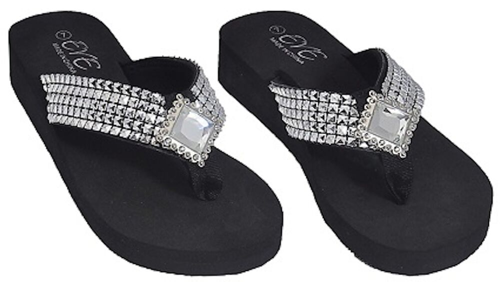 New Women's Fashion Rhinestones Embellished Flip Flop ...