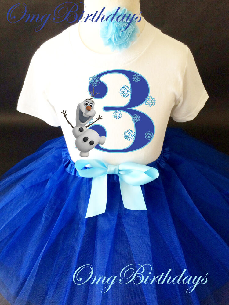 Olaf frozen snowman blue girl 3rd birthday tutu outfit set for Blue dress shirt outfit