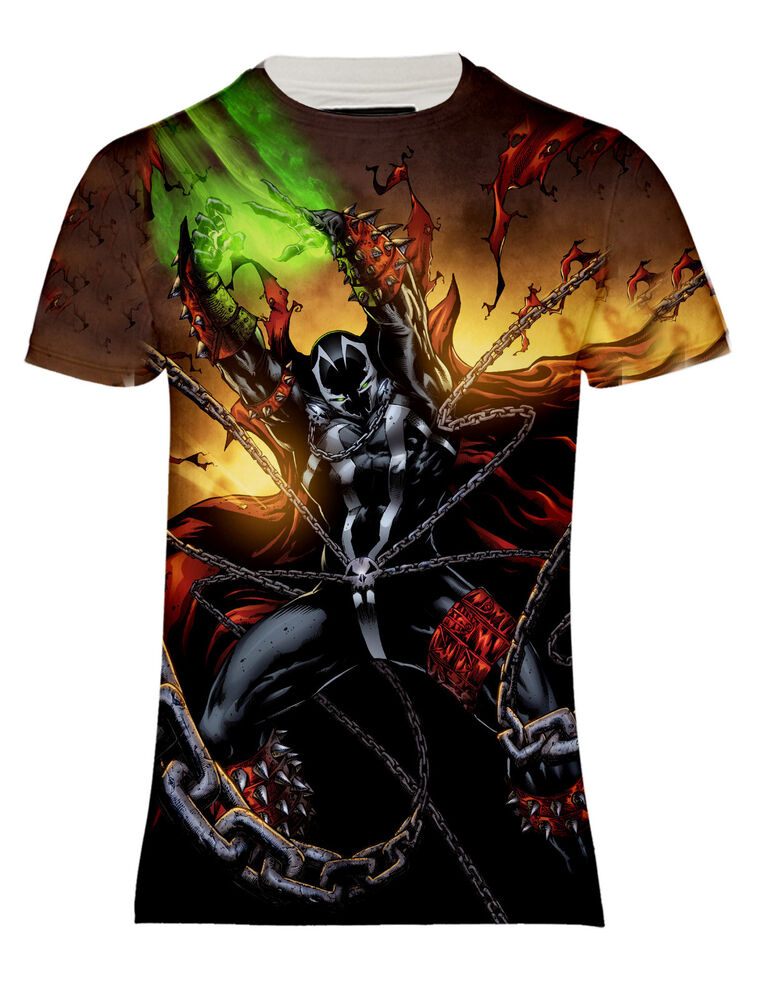 New spawn demon night defender comics over printed short for Comic t shirts online