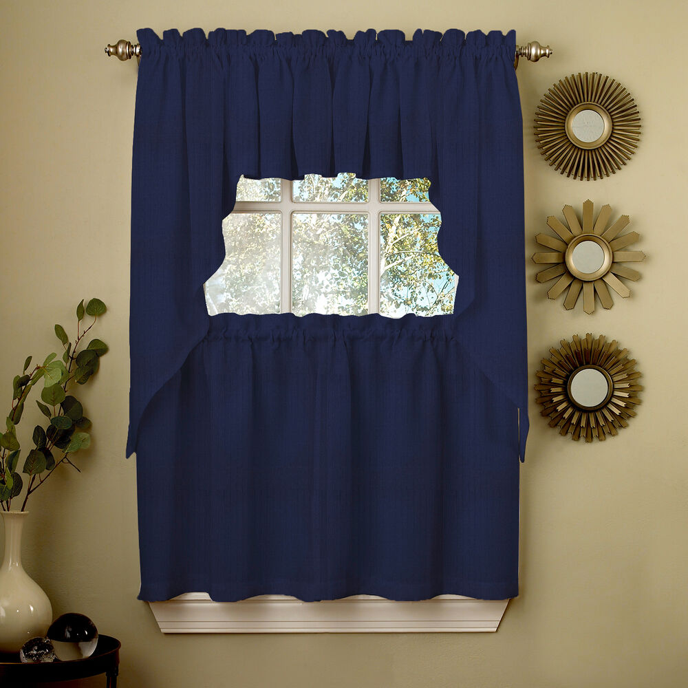 Navy solid opaque ribcord kitchen curtains choice of - Swag valances for bathroom windows ...