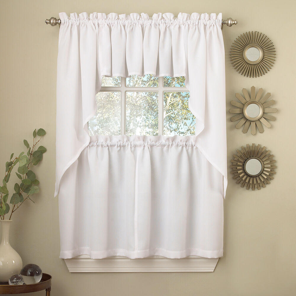 Kitchen Curtains And Valances: White Solid Opaque Ribcord Kitchen Curtains