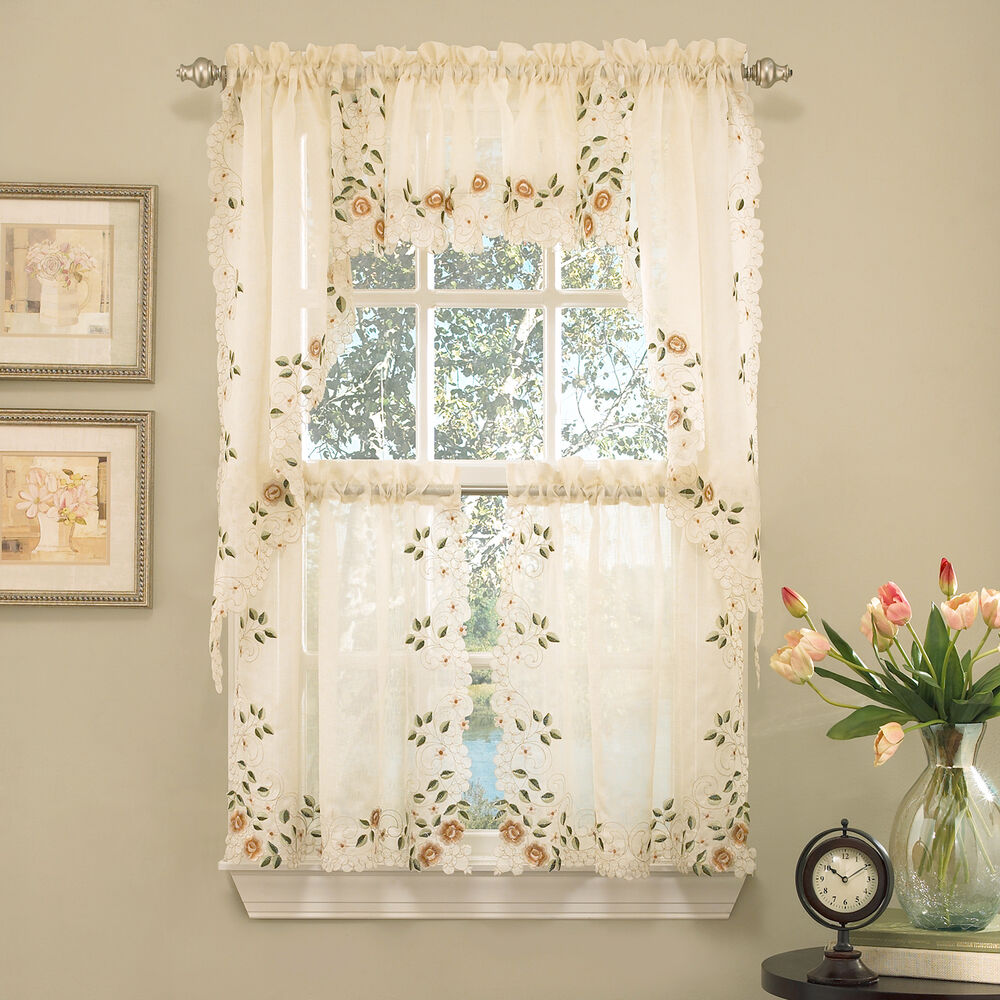 Floral Embroidered Semi Sheer Linen Kitchen Curtain Choice Tier Valance Or Swag Ebay