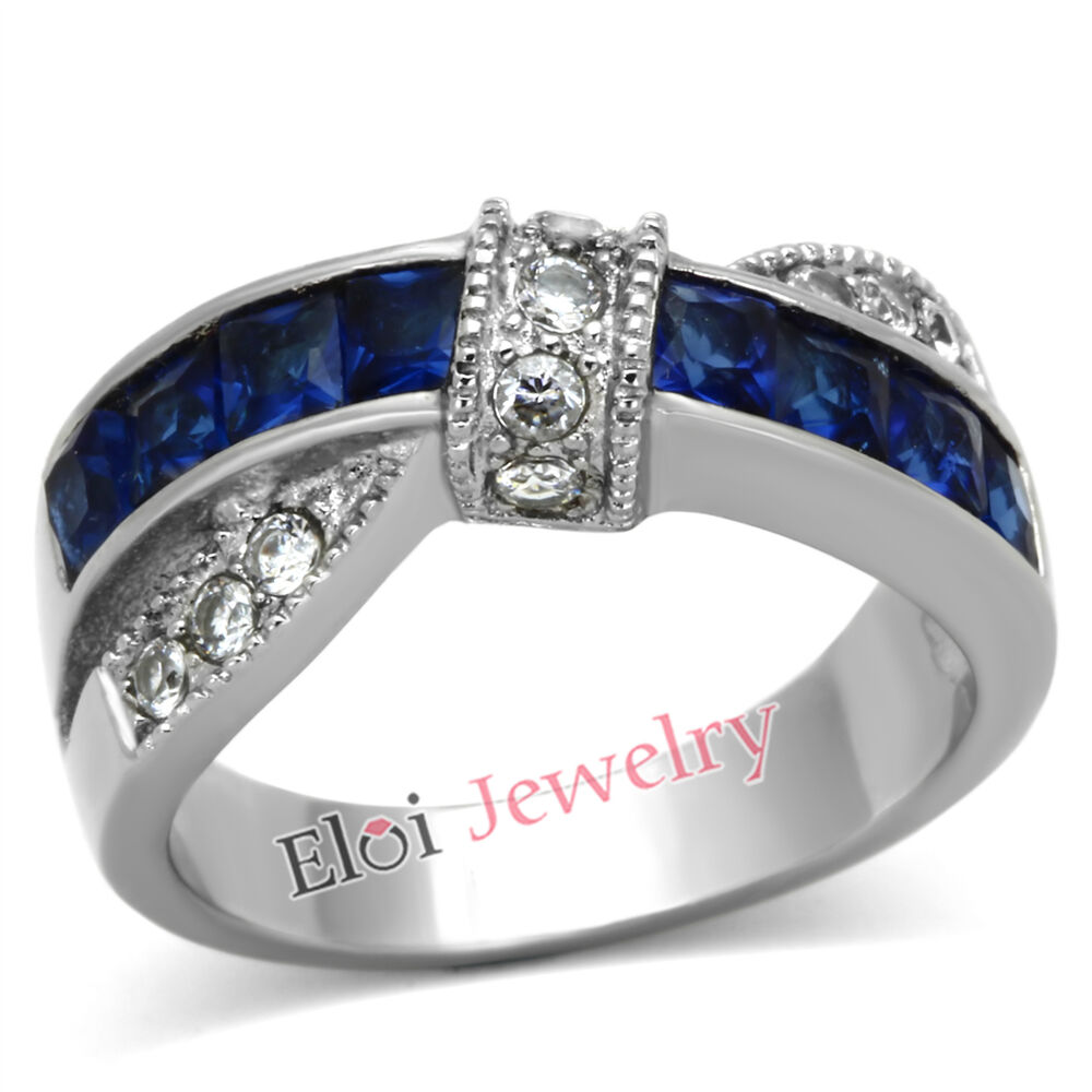 womens blue sapphire cz silver filled wedding ring band. Black Bedroom Furniture Sets. Home Design Ideas