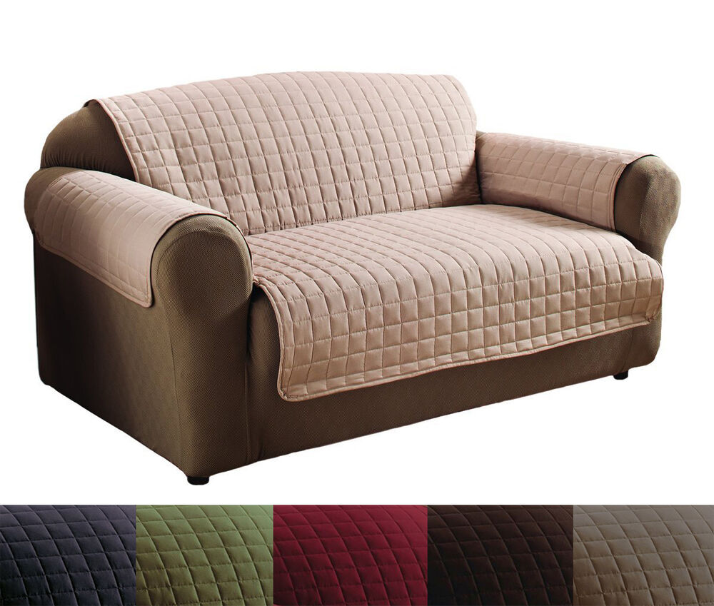 Quality Polyester Microfiber Quilted Loveseat Sofa Protector Cover Set 6 Color Ebay