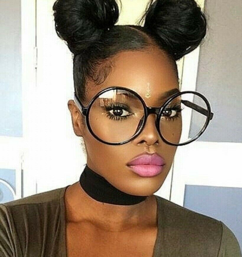 Big Thick Frame Glasses : Round BIG Oversized Circle Black Clear BOHO Style Nerd ...