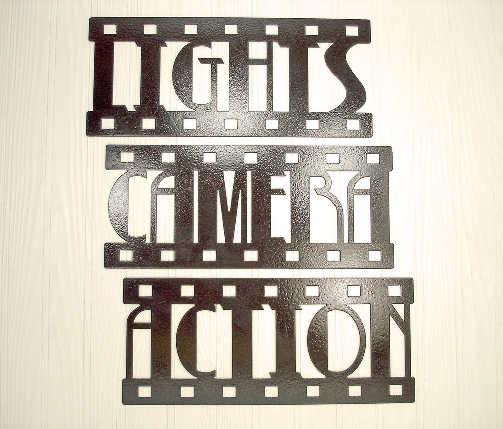 lights camera action new metal wall art home theater decor contemporary ebay. Black Bedroom Furniture Sets. Home Design Ideas