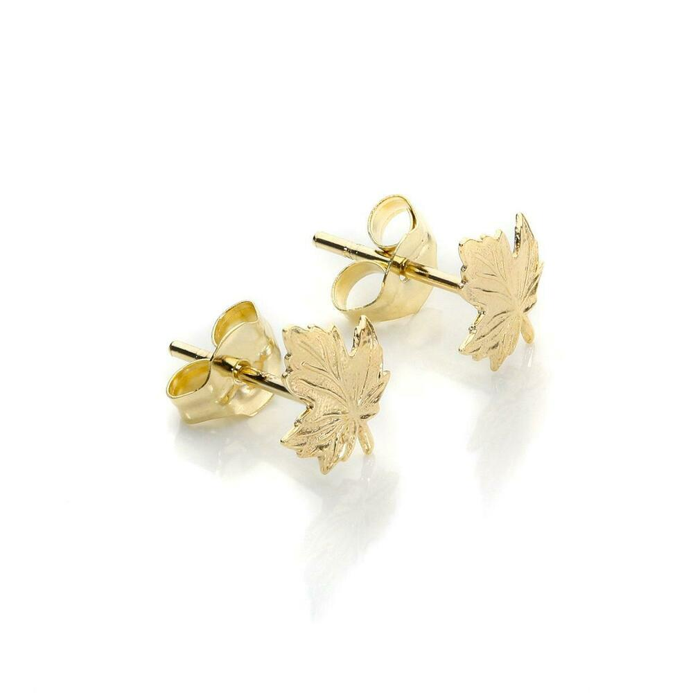 9ct Yellow Gold Small Leaf Stud Earrings Maple Canada