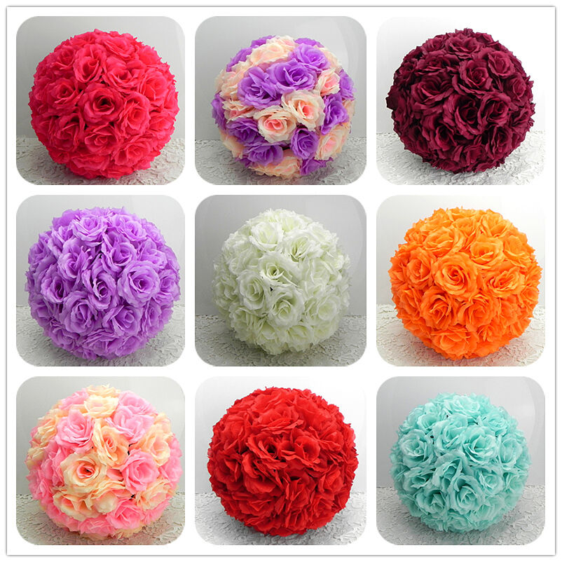 7 Inches White Flower Ball: NEW 5.9-15.7 INCH/15-40CM SILK Rose Pomander Flower