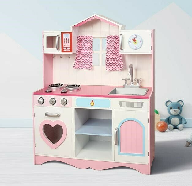 Children Kitchen Set: Large Girls Kids Pink Wooden Play Kitchen Children's Role