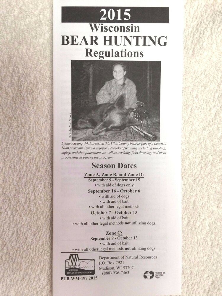 Wisconsin 2015 bear hunting regulations season dates for Fishing license requirements