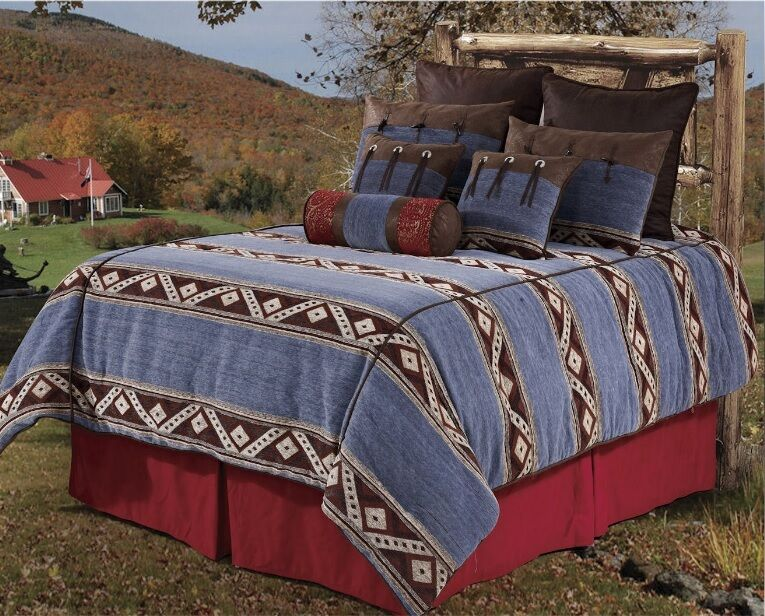 Rustic Country Bedding Sets: NEW Western Rustic Country Southwest Denim Comforter 5