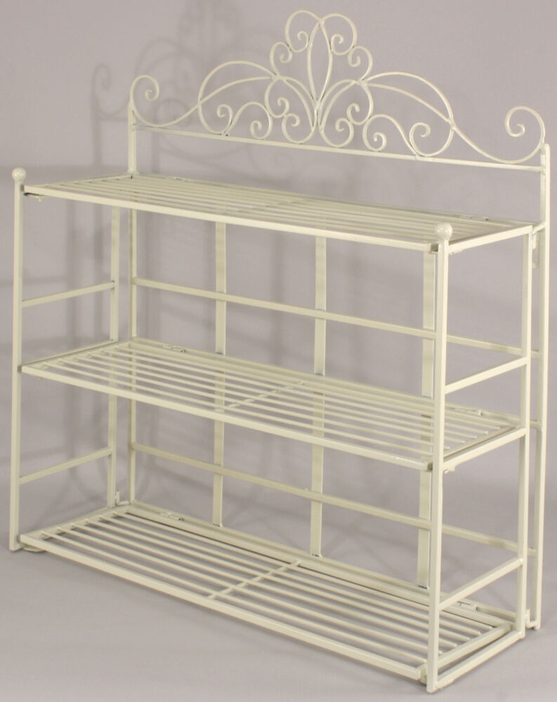 Shabby chic cream metal wall shelf storage unit display for Metal bathroom shelving unit