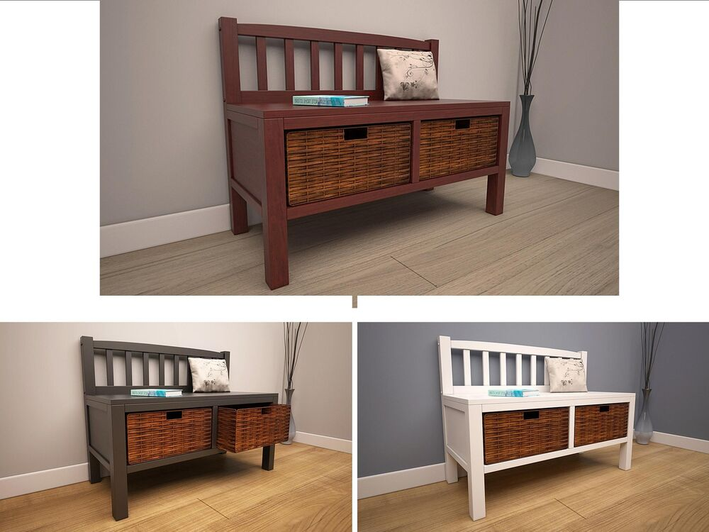 Wood Bench With Drawers ~ Wooden storage bench with wicker basket drawers underneath