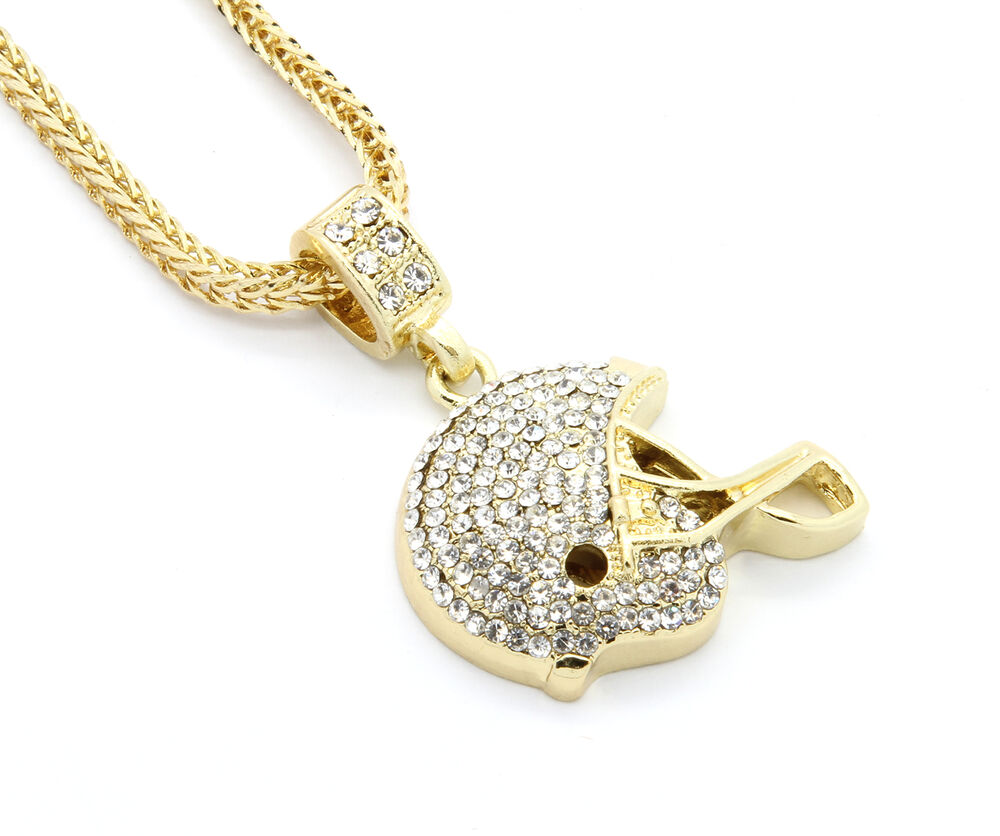 mens gold plated iced out football helmet small pendant 24